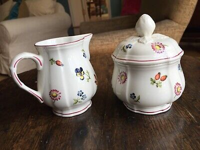 Villeroy & Boch, Petite Fleur, Sugar Bowl & Small Jug, Porcelain, China • 25£