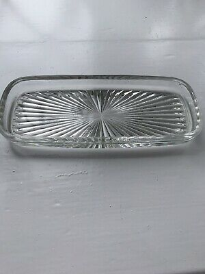 Unusual Vintage Small Rectangle Pressed Glass Dish Trinket Tray • 5£