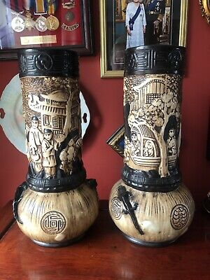 Stunning Pair Bretby Oriental Decorated Vases • 80£