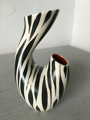 VINTAGE MID CENTURY 1950s BESWICK POTTERY ABSTRACT 1371 RED INTERIOR VASE • 14.95£
