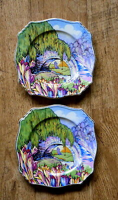 VINTAGE ROYAL WINTON GRIMWADES '6742' Pair Of Hand Painted Old Plates • 12.99£