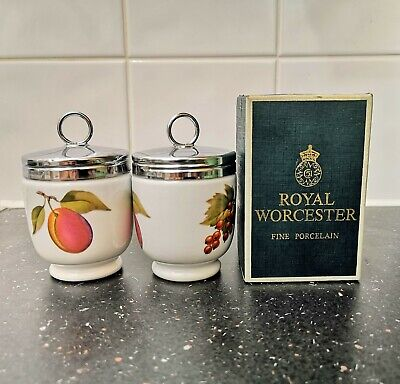 Pair Royal Worcester King Size 4  Egg Coddlers Evesham Plum Red Current Berries • 2.70£