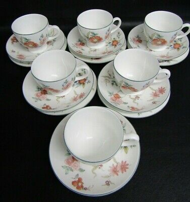Six Wedgwood Phillipa Footed Tea Cups, Saucers & Plates - 1st Quality - New  • 55£