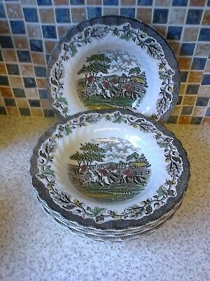 Myotts Country Life Hunting Scene Design 4 Colour 6 X Rimmed Bowls • 12.99£
