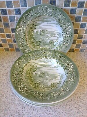 English Ironstone Castles Design In Green 4 X Rimmed Bowls • 9.99£