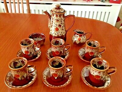 Vintage Fosters Studio Pottery15 Piece Brown TreacleGlaze Coffee Set - Free Dely • 55£