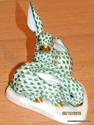 Herend Porcelain Large Rabbits, Excellent Condition, Green Fishnet Pattern 5.5 H • 260£