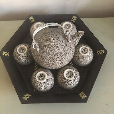 Authentic Speckled 7 Piece Ceramic Chinese Tea Set With Wooden Tray • 25£