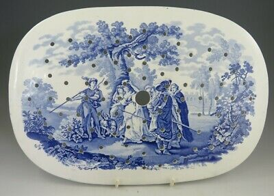 Antique Pottery Pearlware Blue Transfer Rogers Drama Series 14  Drainer 1825 • 26.25£
