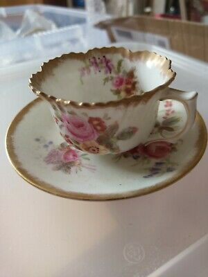 Very Rare Vintage Hammersley & Co Howards Sprays Demi Tasse Cup And Saucer • 25£