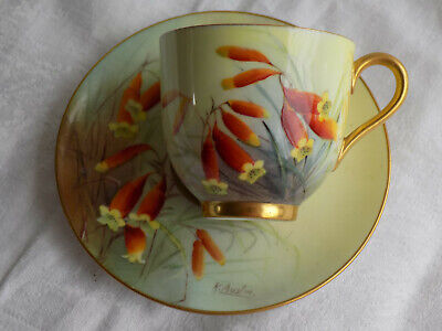 Royal Worcester Hand Painted Flowers Demi-tasse Cup & Saucer Signed R. Austin • 65£