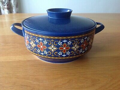 Vintage Retro Round Serving Dish With Lid Dark Blue / Red & Yellows Floral • 4.99£