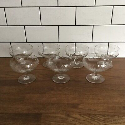 7 X Vintage Etched Champagne Coupes Saucers Glasses • 20£