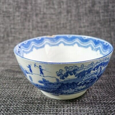 Staffordshire Pearlware - Blue & White Slop Bowl - C1810 - House & Farm Workers • 9£