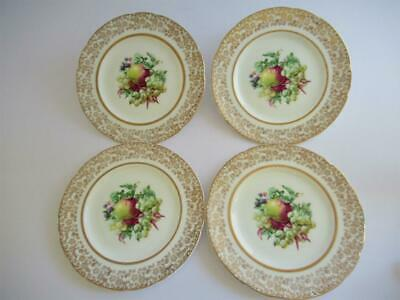 4 Vintage Lubern English Bone China Plates Floral 22 Kt Gold Chintz Tea Party A1 • 4.90£