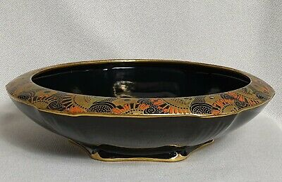 Crown Ducal Black Gold Chintz Art Deco Bowl Rounded Rim 1920s Egyptian Style • 54.95£