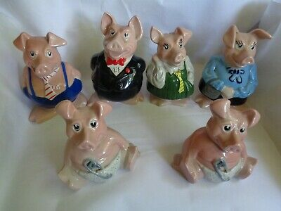 6 Natwest Wade Pigs Money Boxes Full Set  Original Wade All With Stopper • 68£