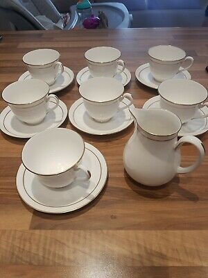 Royal Worcester Gold Rim Cups And Saucer X7 And Milk Jug • 16.99£