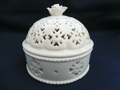 LEEDSWARE Pot Pourri Orb Pot  Classical Creamware Pierced Lidded • 20£