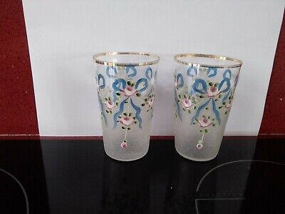 Pair Of Edwardian Glass Tumblers Hand Painted Enamel Flowers  Floral Swags.Moser • 22.99£