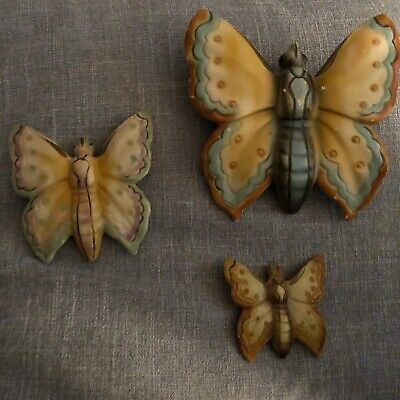 Vintage Rare Art Deco Wall Art Trio Butterflies By Zanobia Ware Made In England • 18£