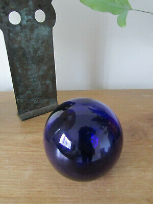 Bristol Blue Glass Round Paperweight, Hand Blown.  Very Deep Colour.   • 8£