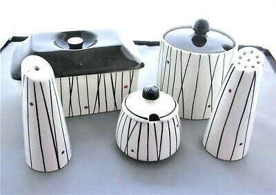 !950's VINTAGE RETRO KIRKHAM POTTERY 3 Piece Cruet ; Preserve Pot & Butter Box . • 25£