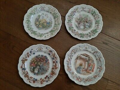 Royal Doulton Brambly Hedge Four Seasons Spring Summer Autumn Winter Plates Set • 14.50£