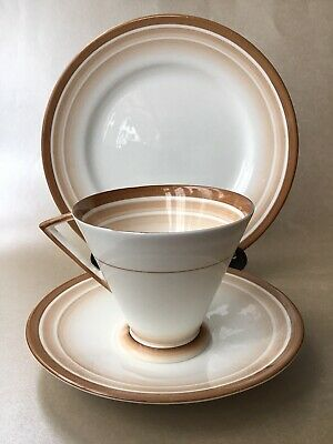 Shelley EVE Trio Bands & Shades Tea Cup Saucer Side Plate Brown 12021 Deco Rare • 49.99£