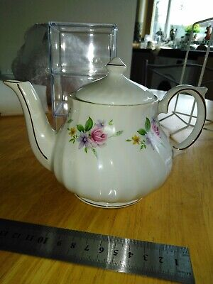 Royal Park Staffordshire Teapot, Pink Flowers & Gold Rims, Tea 4 One, 1960s USED • 13£