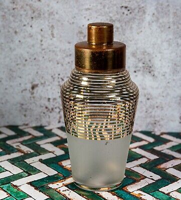 Art Deco - C 1930 - Cocktail Shaker - Copper Top Frosted & Gilt Banded Glass • 22£