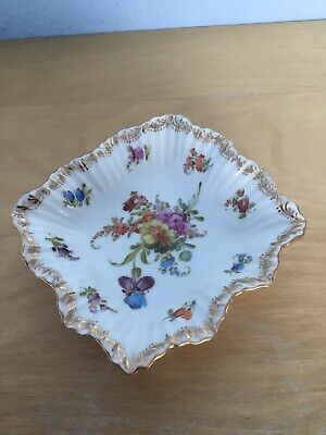 Antique Dresden Hand Painted Floral Dish • 19.99£