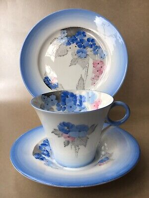 Shelley Regent Shape Vintage Porcelain Blue Phlox Coffee Cup And Saucer 12189 • 29.99£
