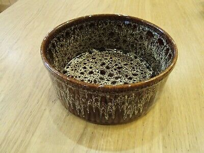 Fosters Pottery Cornwall Brown Honeycomb Large Oven Souffle Dish Serving Bowl • 12£