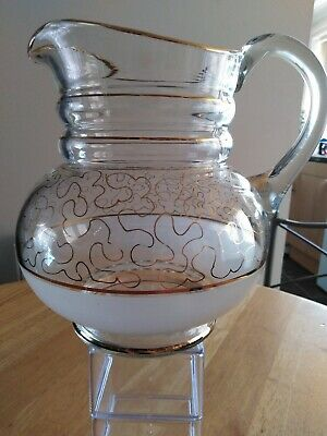 Retro 50s/60's Frosted Glass Gold Design Jug/Pitcher/Lemonade/Water/Pimms/Kitsch • 16£