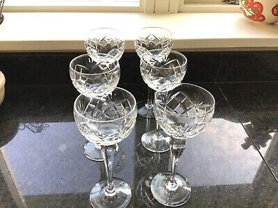 6 X Signed Royal Brierley Cut Glass Hock/wine Glasses • 24.99£
