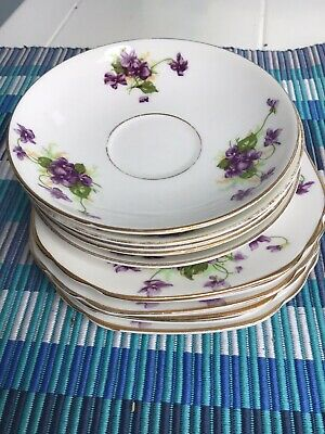 Vintage Duchess Violets China - Side Plates X6 Saucers X5 • 3.20£