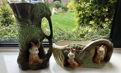 Vintage Eastgate Withernsea Pottery Fauna E.92 Planter & E.95 Jug Great Cond. • 17.99£