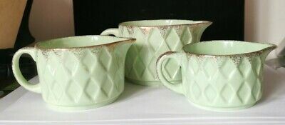 Vintage George Clews Jubilee Green Pottery JUGS Set Of 3 EX CONDITION Bs6 • 19.99£