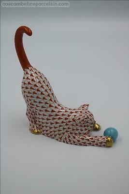 Superb Herend Porcelain Figurine Cat With Ball Rust Red Fishnet Figure • 175£