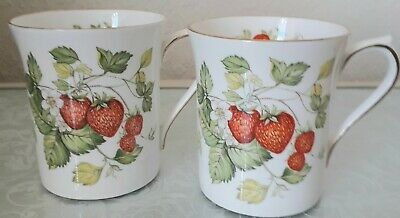 Ringtons - Queens Virginia Strawberry Mugs  Pair (2) Gold Edge  Fine Bone China  • 10.99£