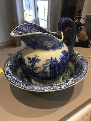 Vintage Victoria Ware Ironstone Jug And Bowl Wash Set Blue And White • 50£