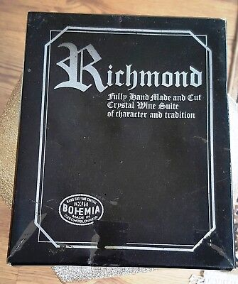 6 X  Vintage Fully Hand Made And Cut Richmond  Crystal Glasses New  & Boxed • 35£