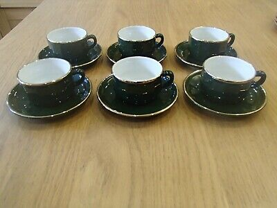 Apilco Green & Gold X6 Coffee Cups Saucers 8 Cm 150 Ml French Bistroware • 30£