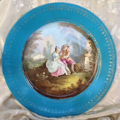 Sevres Antique Porcelain  Plate 19th C Celeste Blue La Lecon De Flute, Boucher • 250£