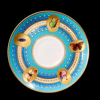 Antique Royal Worcester Jewelled Sky Blue And Gilt Saucer With Butterflies • 110£