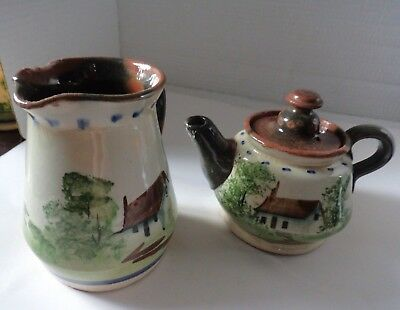 Vintage Torquay Motto Ware Style Teapot & Jug Seconds Incomplete? Props • 8£