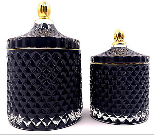 Crystal Glass Sweet Cookie Candle Tea Light Jar With Lid And Gold Trim Black • 17.95£