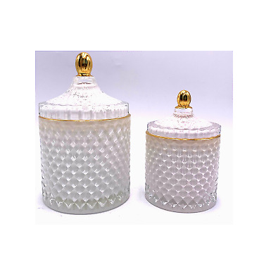 Crystal Glass Sweet Cookie Candle Tea Light Jar With Lid And Gold Trim White • 14.95£