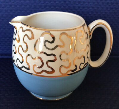 Milk Jug By Sadler Of Staffordshire In Sky Blue And Gold Pattern • 7.50£